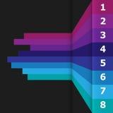 Bannière horizontale avec les lignes colorées sur le fond noir Image stock