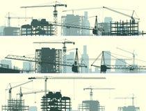 Bannière horizontale de chantier de construction avec les grues et le bâtiment. illustration de vecteur