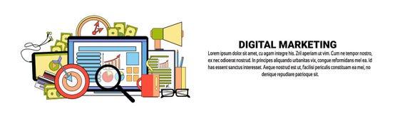 Bannière horizontale de concept d'affaires de stratégie marketing de Digital avec l'espace de copie Photo libre de droits