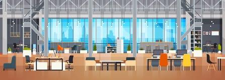Bannière horizontale de Coworking de l'espace de Coworking de bureau de l'espace créatif moderne intérieur vide de lieu de travai illustration de vecteur