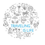 Bannière horizontale de déplacement avec la paume sur l'île, avion, voilier, plage, icônes de vacances Photos stock