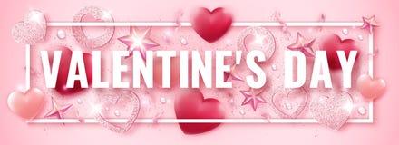 Bannière horizontale de jour de valentines avec briller les coeurs roses, les rubans, les étoiles et les boules colorées Illustra illustration libre de droits