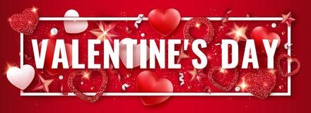 Bannière horizontale de jour de valentines avec briller les coeurs rouges et blancs, les rubans, les étoiles et les boules coloré illustration libre de droits