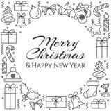 Bannière horizontale de Noël avec l'arbre, cadeaux, décorations, bougies Schéma plat Illustration de vecteur photos libres de droits