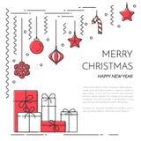 Bannière horizontale de nouvelle année de Noël avec le champagne, art de Lline de décorations Image stock