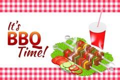 Bannière horizontale de partie de barbecue Nourriture d'été de gril Pique-nique faisant cuire le dispositif Illustration isométri Illustration de Vecteur