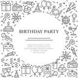 Bannière horizontale de thème de fête d'anniversaire Ensemble d'éléments de gâteau, de présent, de champagne, de disco, de feu d' Image stock