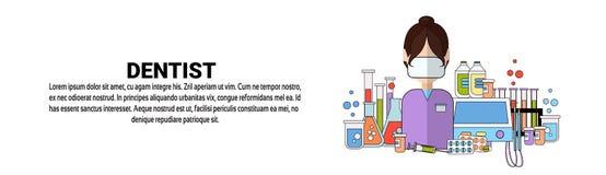 Bannière horizontale de Tooth Doctor Concept de dentiste avec l'espace de copie illustration de vecteur