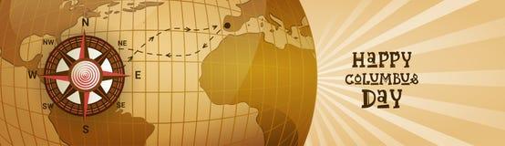 Bannière horizontale heureuse de carte du monde de carte de voeux d'affiche de Columbus Day America Discover Holiday rétro Photographie stock libre de droits