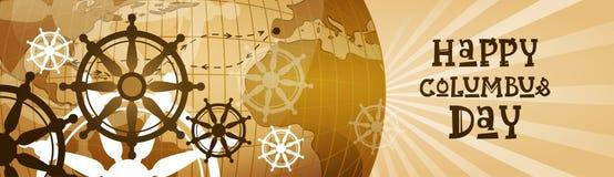 Bannière horizontale heureuse de carte du monde de carte de voeux d'affiche de Columbus Day America Discover Holiday rétro Photos stock