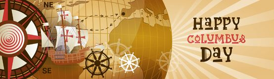 Bannière horizontale heureuse de carte du monde de carte de voeux d'affiche de Columbus Day America Discover Holiday rétro Photographie stock