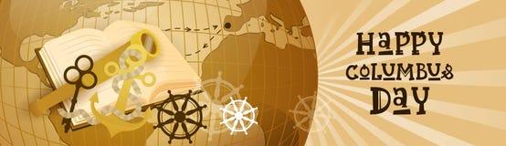 Bannière horizontale heureuse de carte du monde de carte de voeux d'affiche de Columbus Day America Discover Holiday rétro Images libres de droits