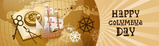 Bannière horizontale heureuse de carte du monde de carte de voeux d'affiche de Columbus Day America Discover Holiday rétro Image libre de droits