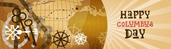 Bannière horizontale heureuse de carte du monde de carte de voeux d'affiche de Columbus Day America Discover Holiday rétro Photo libre de droits