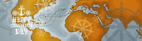 Bannière horizontale heureuse de carte du monde de carte de voeux d'affiche de Columbus Day America Discover Holiday rétro Photos libres de droits