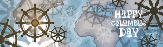 Bannière horizontale heureuse de carte du monde de carte de voeux d'affiche de Columbus Day America Discover Holiday rétro Images stock