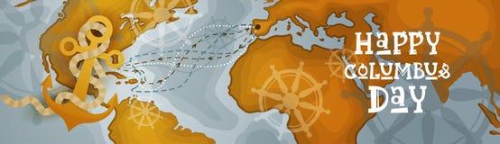 Bannière horizontale heureuse de carte du monde de carte de voeux d'affiche de Columbus Day America Discover Holiday rétro Photo stock