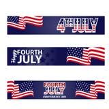 Bannière horizontale heureuse du quatrième juillet photos libres de droits