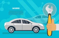 Bannière horizontale plate pour des services des réparations de voiture Images libres de droits