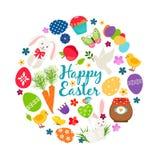 Bannière imprimable heureuse de vecteur de Pâques de ressort de bande dessinée avec des oeufs, des lapins et des fleurs illustration libre de droits