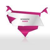 Bannière infographic d'origami avec des oiseaux Descripteur de vecteur illustration de vecteur