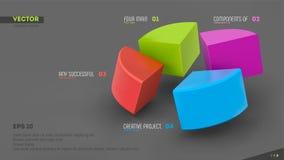bannière infographic du vecteur 3d avec quatre secteurs de couleur Images stock