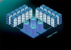 Bannière isométrique avec la ferme d'exploitation de bitcoin, concept d'exploitation de cryptocurrency, vecteur 3d isométrique fi Image stock