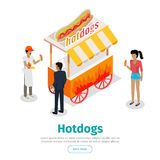 Bannière isométrique conceptuelle de Web de vecteur de hot dogs illustration libre de droits