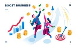 Bannière isométrique d'affaires, application de smartphone illustration libre de droits