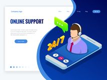Bannière isométrique de wen avec le supportconcept en ligne Conseils d'aide d'aide de service de support Agent de centre d'appels Photos libres de droits