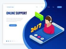 Bannière isométrique de wen avec le supportconcept en ligne Conseils d'aide d'aide de service de support Agent de centre d'appels Images libres de droits
