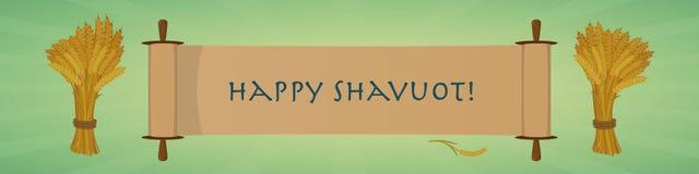 Bannière juive heureuse de salutation de vacances de Shavuot Rouleau et gerbes Image stock