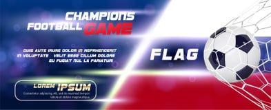 Bannière large du football ou du football avec la boule 3d sur le fond de drapeau Conception d'insecte ou d'affiche du football d Photo stock