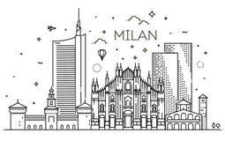 Bannière linéaire de ville de Milan illustration libre de droits