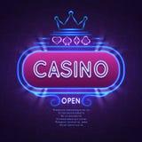 Bannière lumineuse abstraite de casino de vegas avec le cadre au néon Fond de jeu de vecteur Photographie stock libre de droits