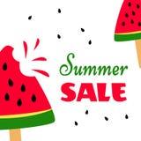 Bannière lumineuse avec les pastèques douces et la vente d'été d'inscription Vecteur illustration stock