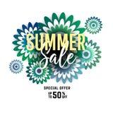 Bannière lumineuse de vente d'été, affiche dans la conception à la mode Photos stock