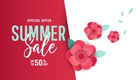 Bannière lumineuse de vente d'été, affiche dans la conception à la mode Images stock