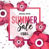 Bannière lumineuse de vente d'été, affiche dans la conception à la mode Images libres de droits