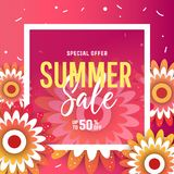 Bannière lumineuse de vente d'été, affiche dans la conception à la mode Photo stock