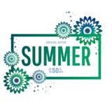 Bannière lumineuse de vente d'été, affiche dans la conception à la mode Image libre de droits