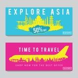 Banni?re lumineuse et color?e de promotion avec le rose et la couleur bleue pour le voyage de l'Asie, conception d'art de silhoue illustration de vecteur