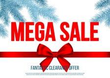 Bannière méga de vente de Noël avec l'arc de cadeau, ruban, soutien-gorge impeccable illustration de vecteur