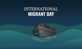 Bannière migratrice internationale de concept de jour, style de bande dessinée