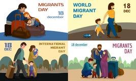 Bannière migratrice réglée, style de bande dessinée illustration libre de droits