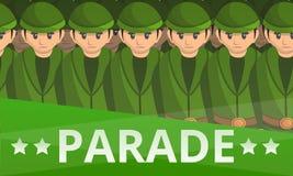 Bannière militaire de concept de défilé de soldat, style de bande dessinée illustration de vecteur