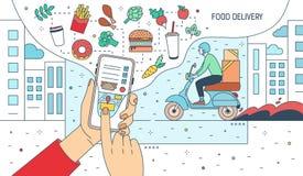 Bannière moderne avec des mains tenant le smartphone avec l'application de service de distribution de nourriture ou le site Web s Illustration de Vecteur