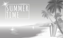 Bannière monochrome de Web de blanc gris de Palm Beach de mer d'été Poncez le bateau chaud de panneaux de ressac de jour de sunsh Photos stock