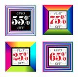 Bannière multicolore de vente Images libres de droits