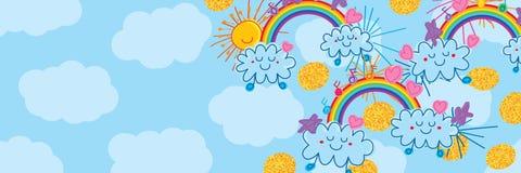 Bannière naïve d'arc-en-ciel de nuage de Sun Images stock